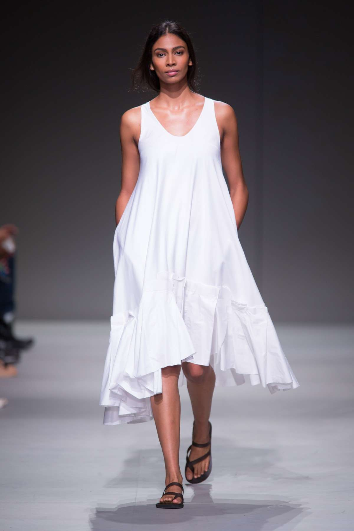 Lunar SS15 cotton dress with pleat hem detail