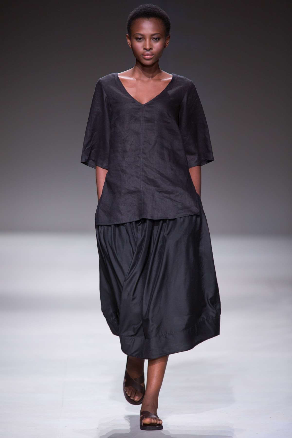Lunar V-neck Linen Top and Gathered Skirt
