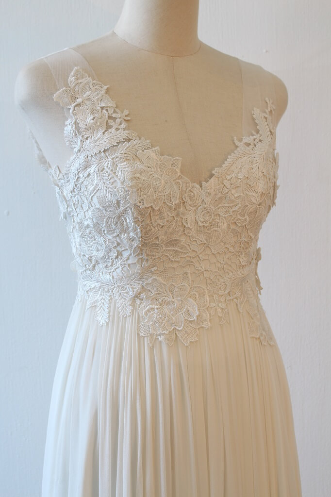 Lunar French lace and silk chiffon wedding dress