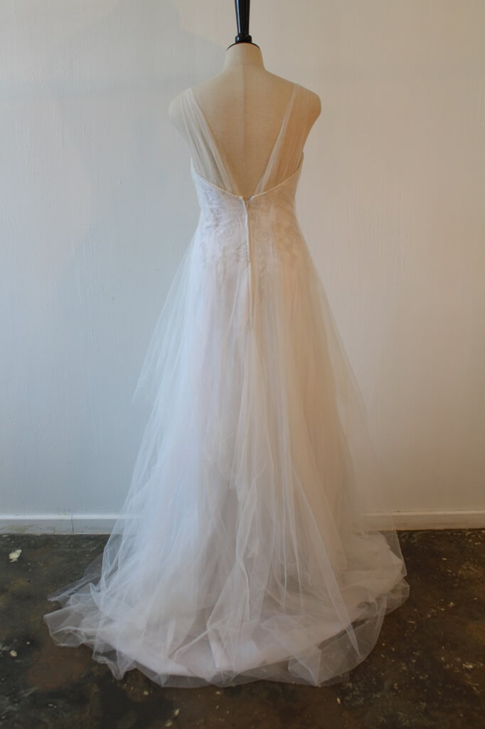 Lunar lace and soft tulle wedding dress back