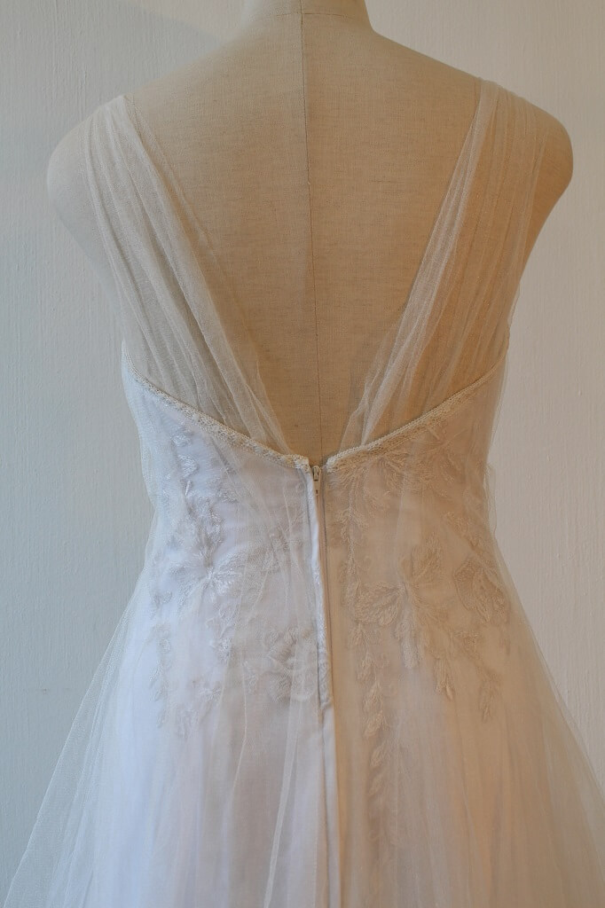 Lunar lace and soft tulle wedding dress back detail