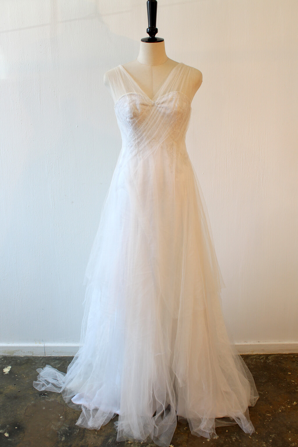 Lunar lace and soft tulle wedding dress