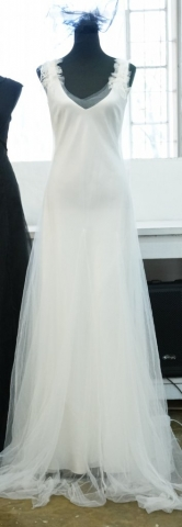 LUNAR SA Fashion Week simpe bridal gown with soft tulle overlay