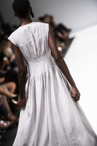 back of grey linen almaz dress by Lunar
