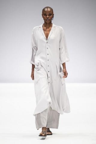light grey linen casablanca outfit by Lunar