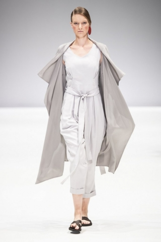grey linen kate jumpsuit and thandeka coat by Lunar