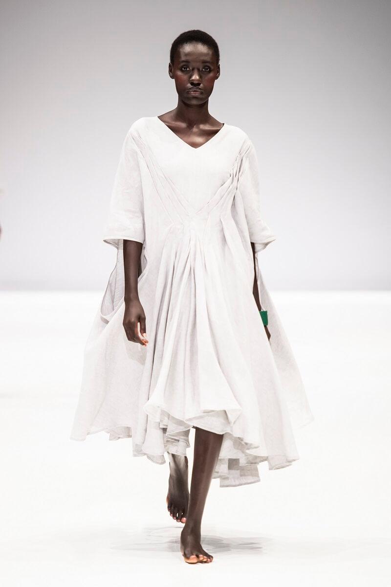 white linen kimono dress by Lunar