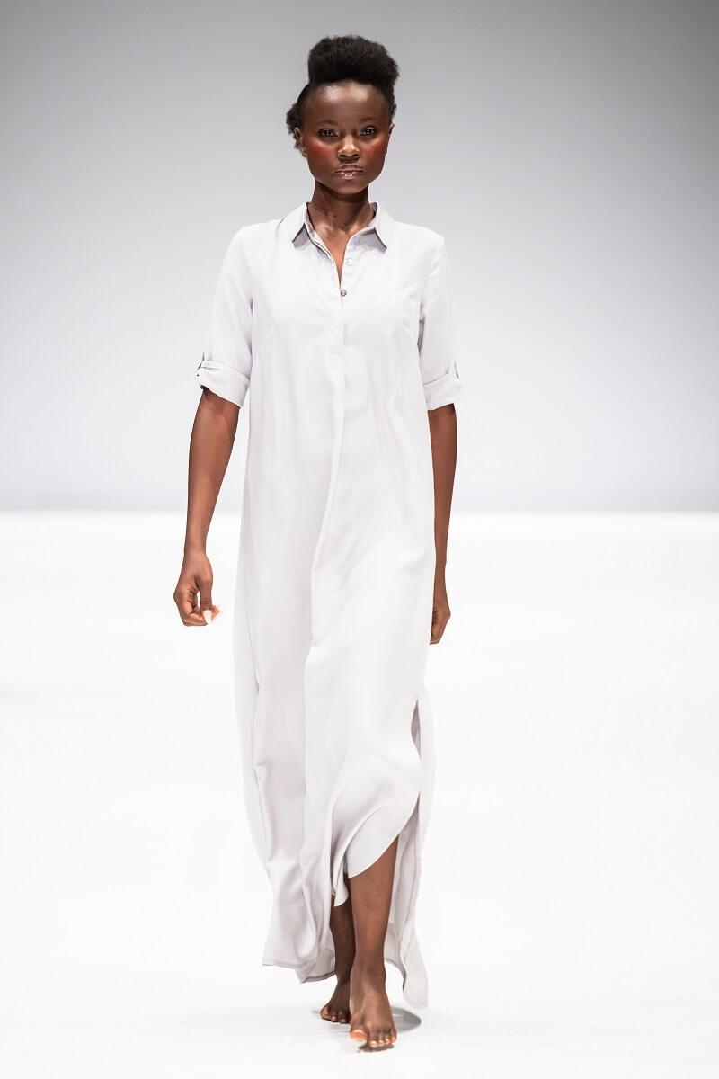 light grey linen kurta dress by Lunar