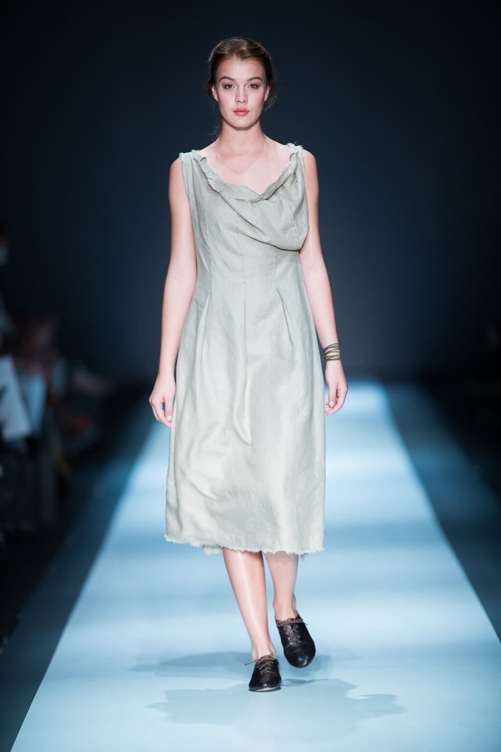 Lunar Linen Draped Neck Dress