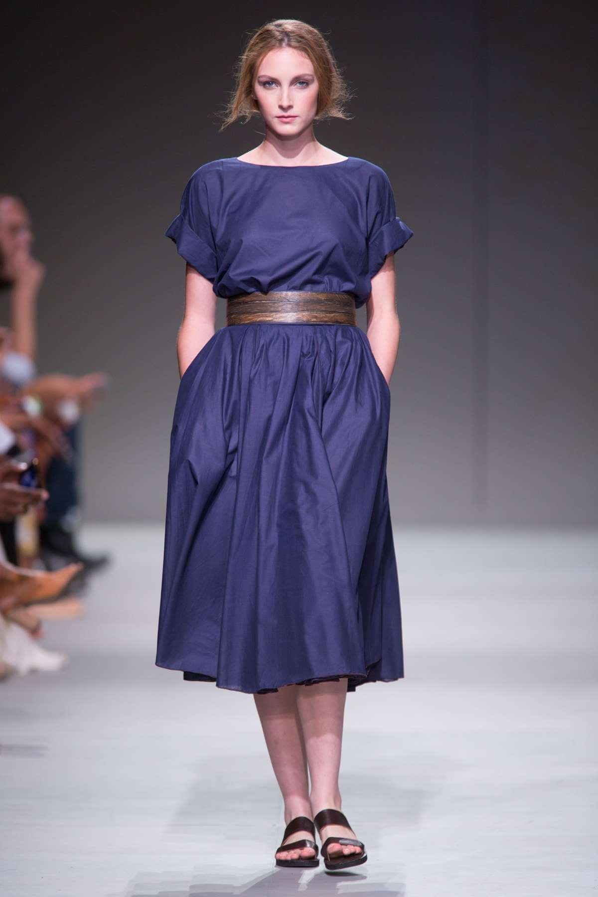 Lunar Cotton Voile Top and Gathered Skirt with Wooden Belt