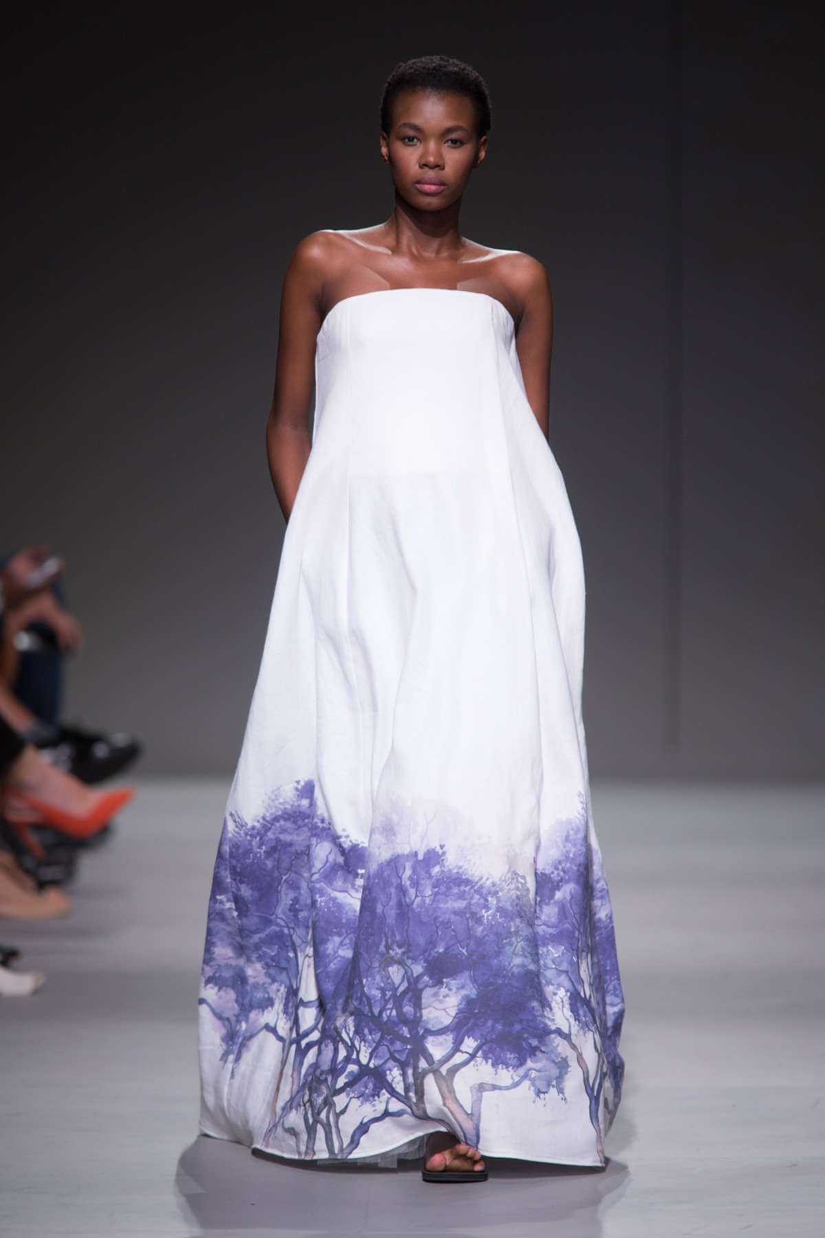 Lunar Linen Strapless Statement Dress with Jacaranda Print