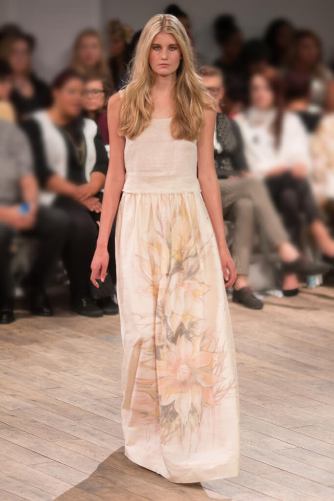 Lunar Linen Top and Silk Skirt with handpainted blushing bride print