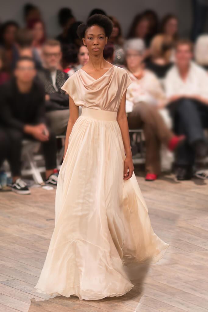 Lunar Cowl Neck Silk Eveningwear Dress