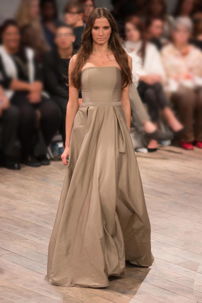 Lunar Cotton Sateen Strapless Eveningwear Dress