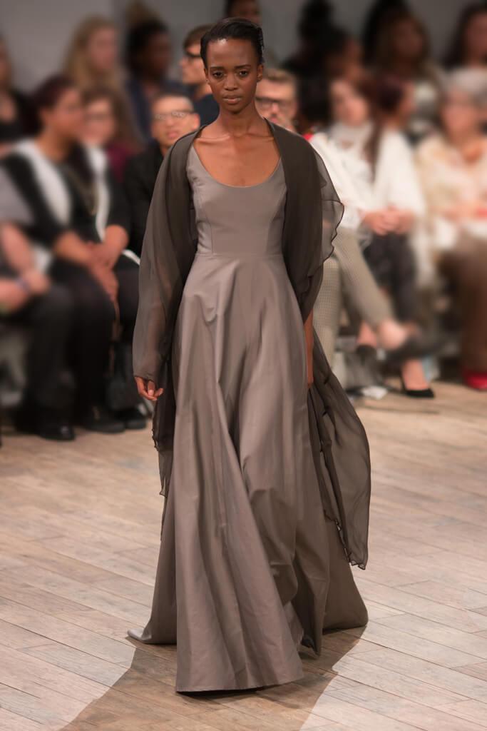 Lunar Cotton Sateen Round Neck Eveningwear Dress
