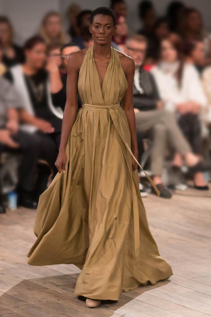 Lunar Gold Silk Couture Eveningwear Dress